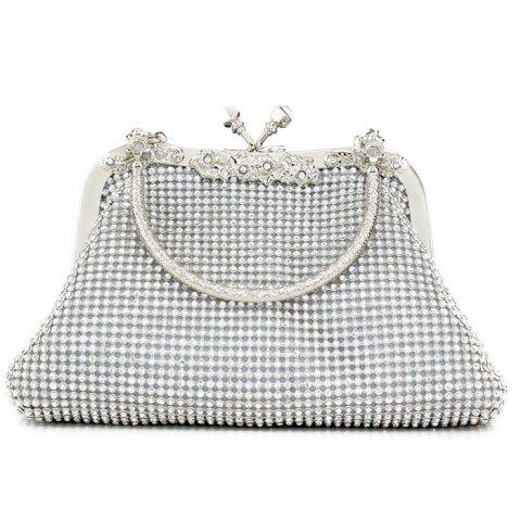 Latest Kiss Lock Rhinestone Evening Bag - SILVER  Mobile