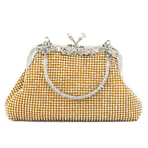 Buy Kiss Lock Rhinestone Evening Bag - Golden