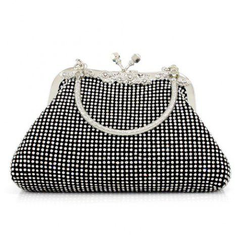 Fancy Kiss Lock Rhinestone Evening Bag - BLACK  Mobile
