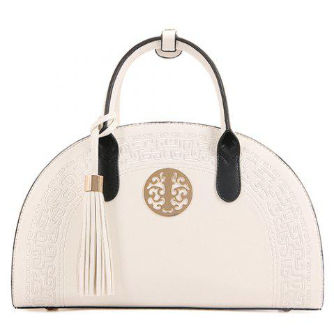 New Semicircle Embroidered Tassel Handbag WHITE
