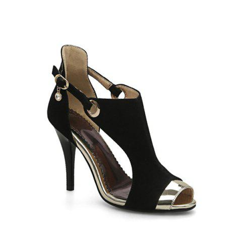 Latest Peep Toe Stiletto Heel Sandals BLACK 38