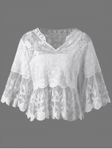 Online Floral Cutwork Sheer Blouse