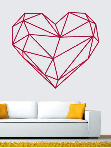 Outfits Geometric Heart Shape Waterproof Design Wall Stickers For Bedrooms ROSE RED 49*57CM