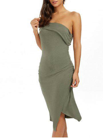 Affordable Ruched One Shoulder Low Cut Bodycon Bandage Dress GREEN L