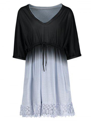 Plus Size Dolman Sleeve Ombre Cover Up Dress - Blue And Black - 4xl