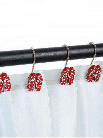 Outfits 12 Pcs Beach Polka Dot Flip Flops Shaped Shower Curtain Hooks RED