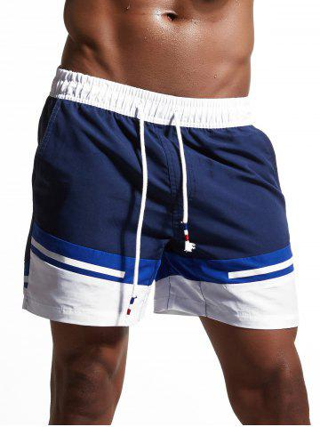 Latest Color Block Panel Zipper Pockets Swimming Shorts - L CERULEAN Mobile