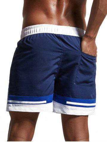 New Color Block Panel Zipper Pockets Swimming Shorts - L CERULEAN Mobile