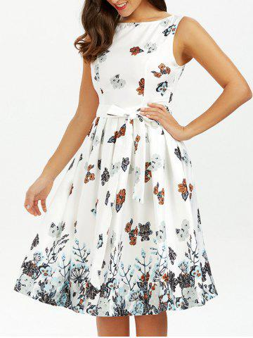 Latest Belted Sleeveless Floral Printed Dress