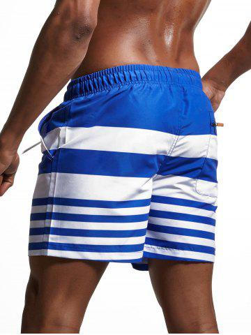 Latest Stripes Panel Lace Up Swimming Shorts - L BLUE Mobile