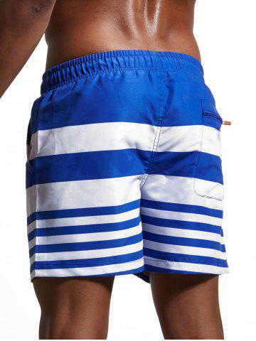 Chic Stripes Panel Lace Up Swimming Shorts - L BLUE Mobile