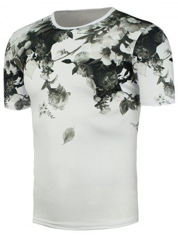Chinese Painted Short Sleeve Floral T-Shirt - White - One Size