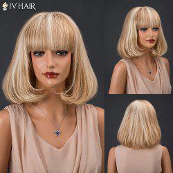Siv Hair Medium Straight Full Bang Capless Human Hair Bob Wig
