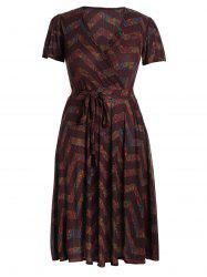 Plus Size Midi Chervon Tribal Printed Plunge Dress -