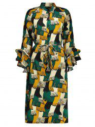 Flare Sleeve Print Plus Size Dress