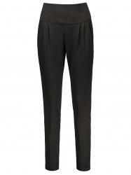 Plus Size High Waisted Ankle Pants - BLACK