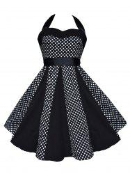 Vintage Halter Polka Dot Swing Dress - BLACK 2XL