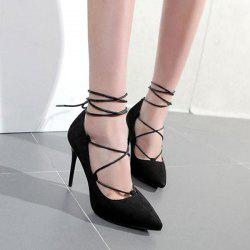 Lace Up Mini Heel Pumps