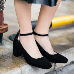 Mid Heel Square Toe Pumps