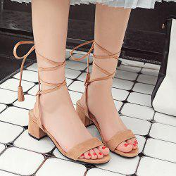 Tie Up Block Heel Sandals