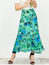 Tie Dye Shell Print High Waisted Maxi Skirt