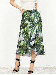 Leaf Print High Waisted Wrap Boho Skirt