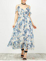 Maxi Cold Shoulder Floral Ruffle Cami Dress