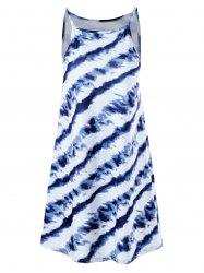 Tie Dye Summer Dress - BLUE AND WHITE