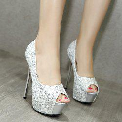 Lace Sequined Peep Toe Shoes