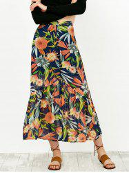 High Waist Floral Print Buttoned Skirt