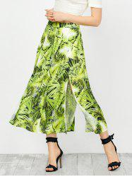 High Waisted Leaf Print Slit A Line Skirt