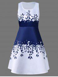 Sleeveless Leaf Pattern Graduation Dress - BLUE AND WHITE