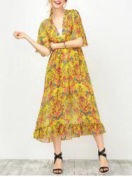 Maxi Floral Printed Empire Waist Dress With Tube Top - YELLOW S