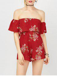 Off The Shoulder Flounce Floral Strapless Hawaiian Print Romper