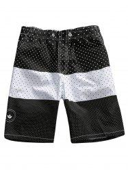 Two Tone Polka Dot Board Shorts - BLACK