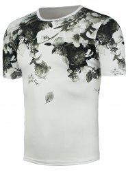 Chinese Painted Short Sleeve Floral T-Shirt