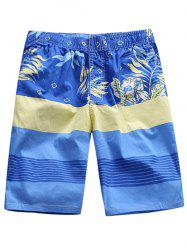Plant Printed Striped Board Shorts