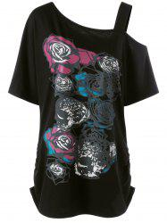 Skew Collar Rose Print Long Shirred T-Shirt