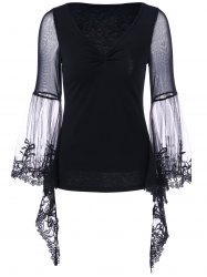 Plus Size Flare Sleeve Lace Trim Blouse - BLACK