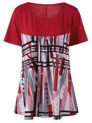 Plus Size Geometric Striped Longline T-Shirt