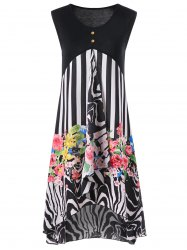 Striped and Floral High Low Hem Dress