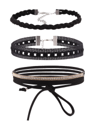 Faux Leather Velvet Rhinestone Choker Necklace Set - BLACK