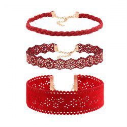 Hollow Out Floral Faux Leather Choker Set - RED