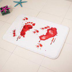 Bloodstain Footprint Soft Absorbent Area Rug - RED WITH WHITE