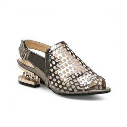 Patent Leather Strange Style Sandals - GUN METAL