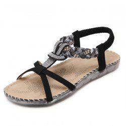 T Bar Rhinestones Sandals - BLACK