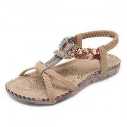 T Bar Rhinestones Sandals - APRICOT