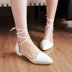Pointed Toe Tie Up Flat Shoes