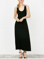 Open Back Sleeveless Criss Cross Casual Maxi Dress