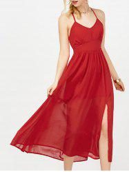 Long Criss Cross Backless Chiffon Flowy Prom Dress - RED